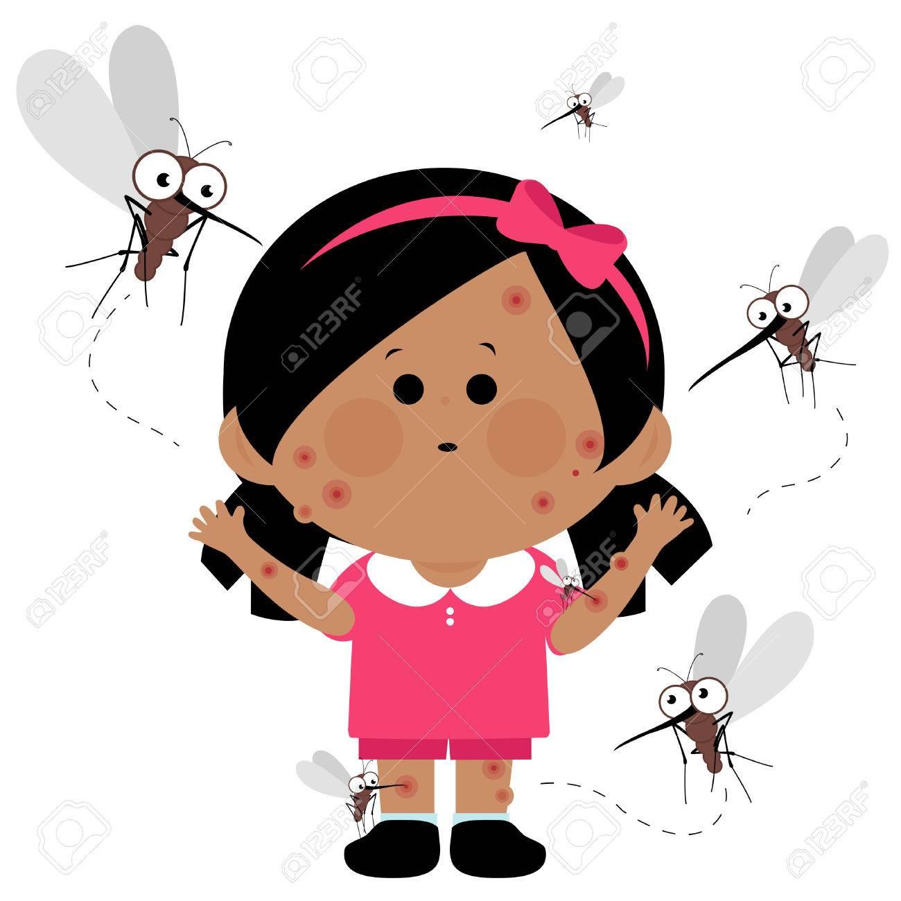 Girl bitten by mosquitoes - 54273239