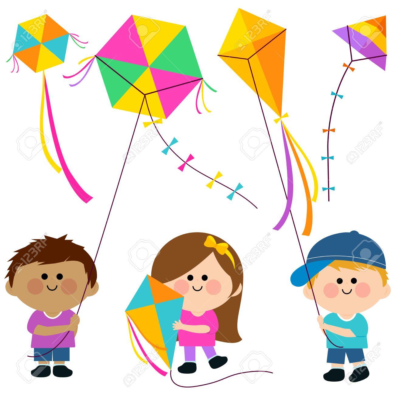 Children flying kites - 54273237