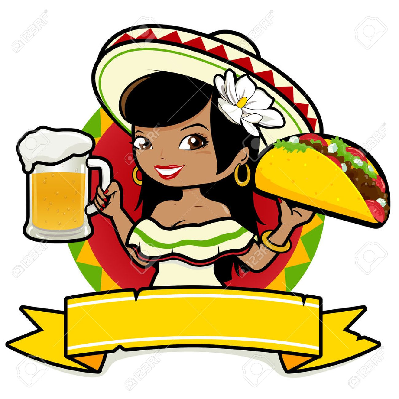 Mexican woman holding a cold beer and a taco - 54273251