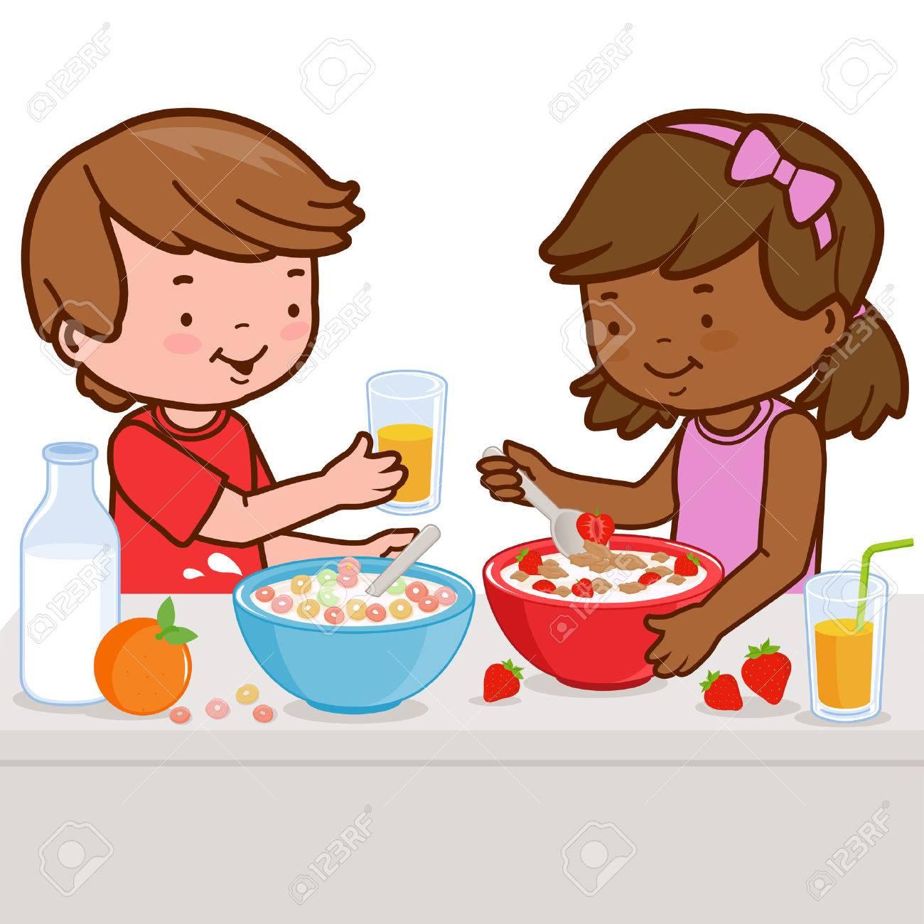 Children having breakfast - 55113358