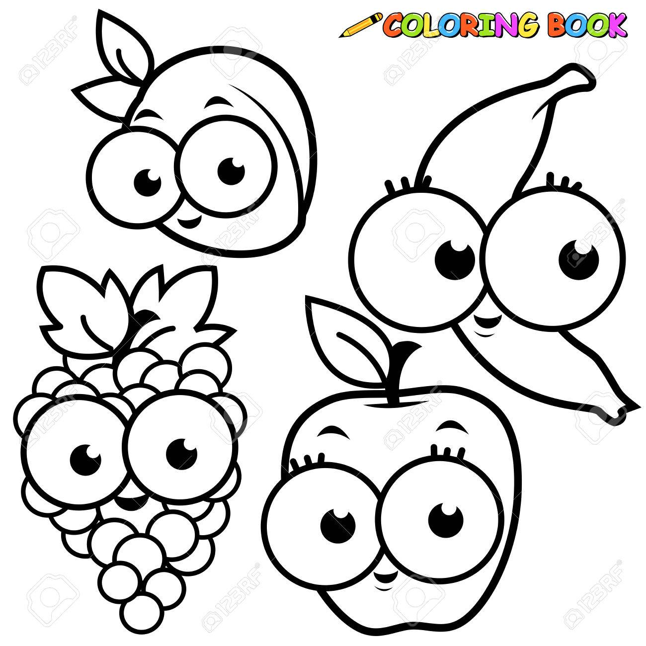 Coloring Book Fruit Cartoon Set Apricot Banana Grape Apple Stock Vector