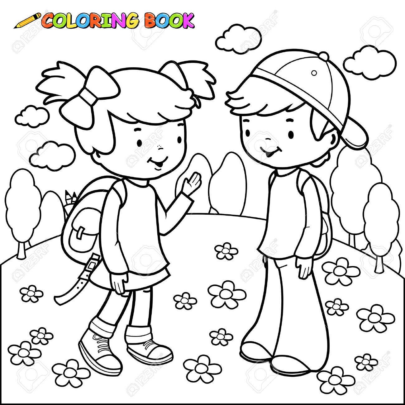 Coloriage Fille Garcon.Image De Contour Noir Et Blanc D Une Fille Et Un Garcon Etudiants Coloriage Page Du Livre