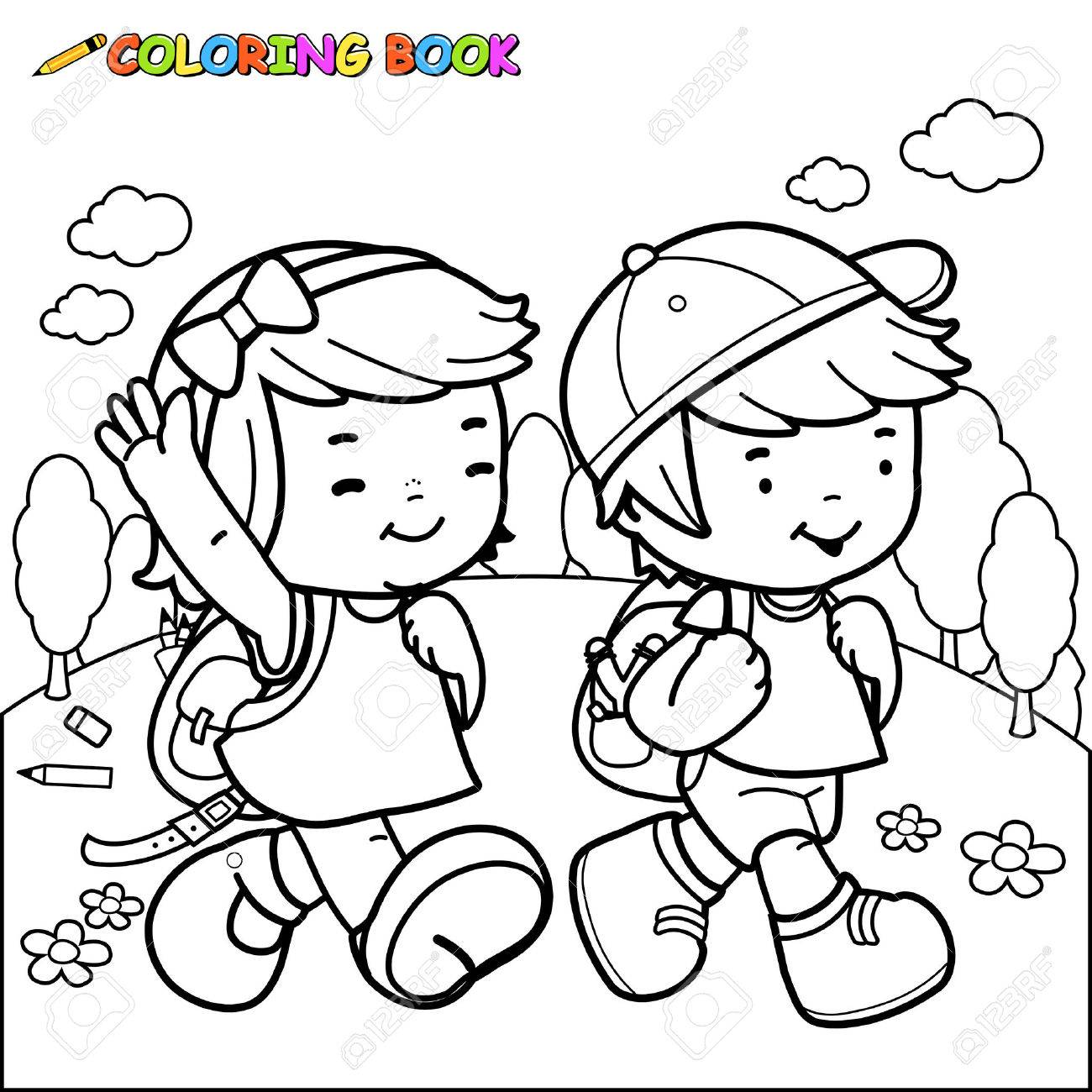 children walk to coloring book page royalty free cliparts