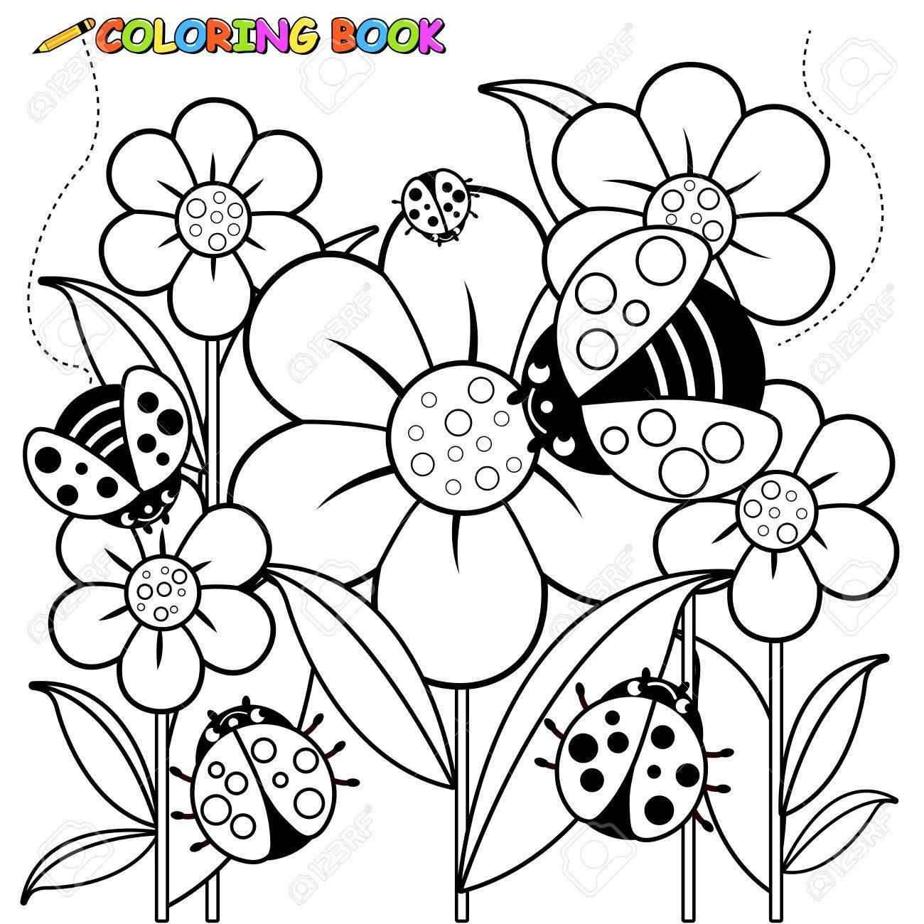 Schwarz Weiß Umriss Bild Der Marienkäfer Auf Blumen Im Frühling