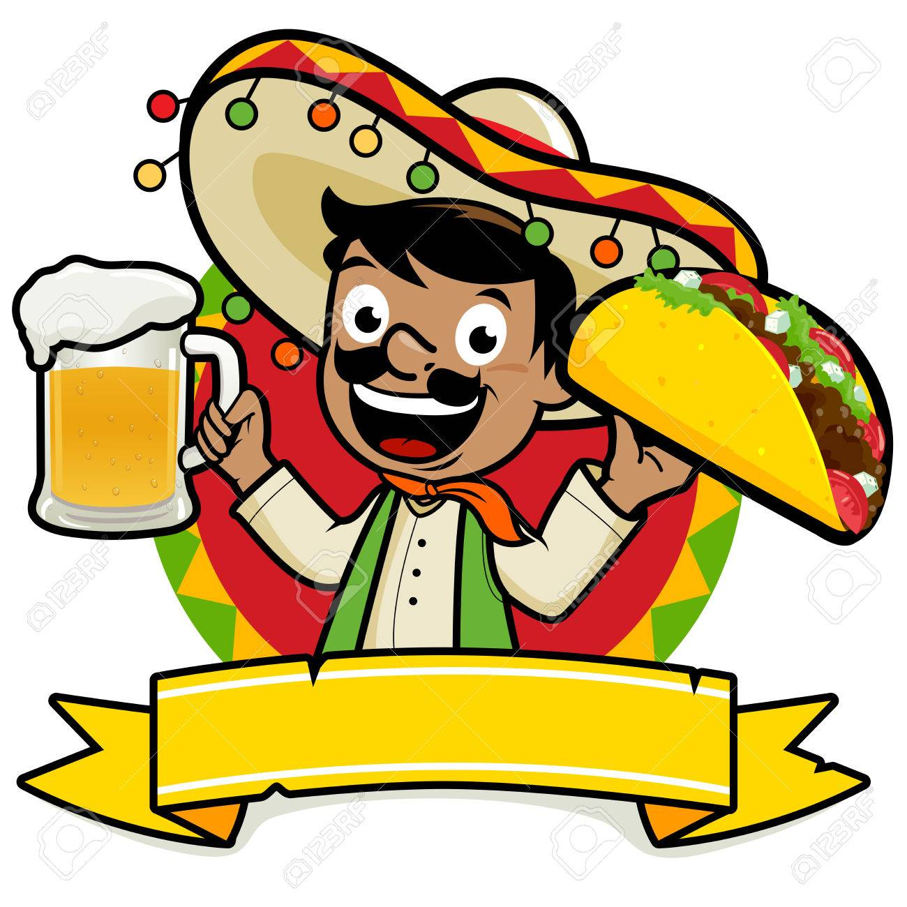 Mexican man holding a cold beer and a taco - 59038240