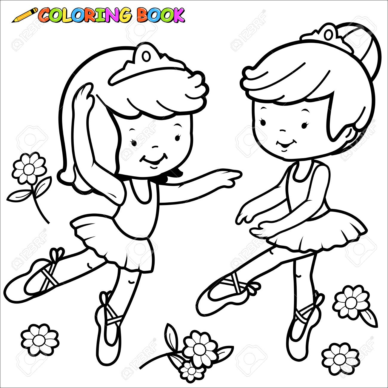 Coloring book page ballerina girls dancing