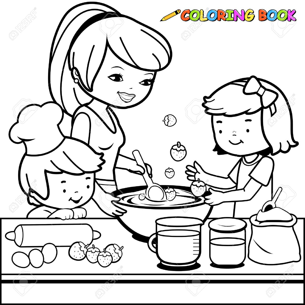 Mother and children cooking in the kitchen coloring book page - 60009242