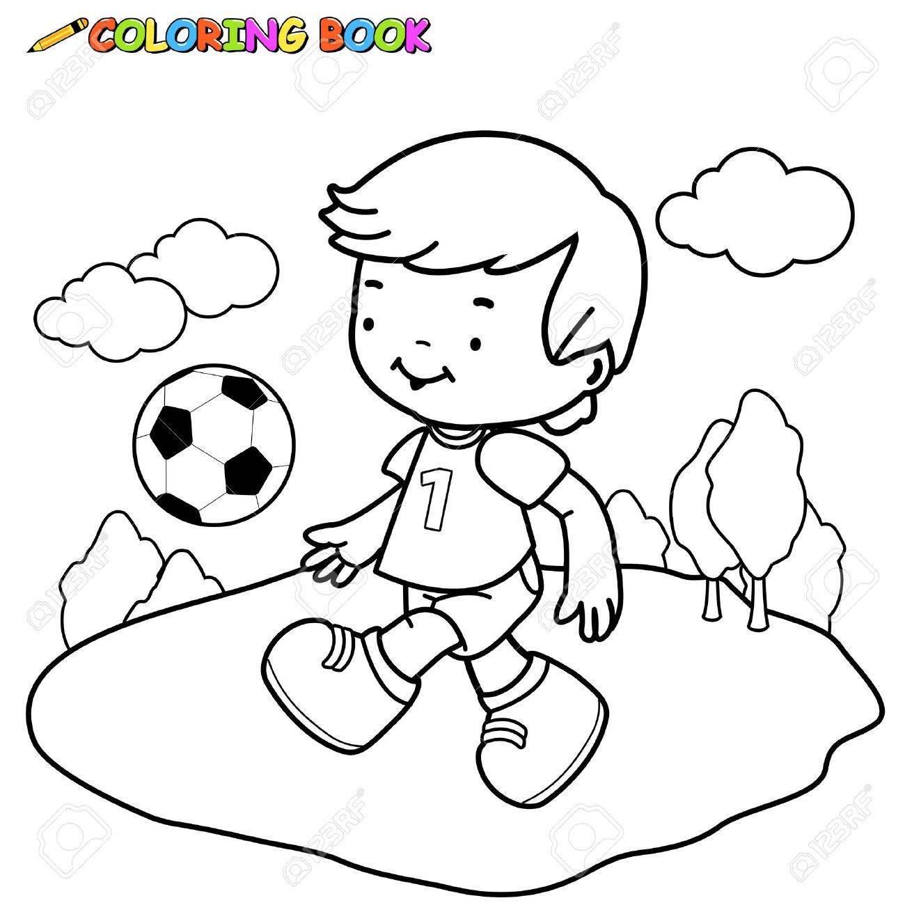 Niño Jugar Al Fútbol. Colorear Página Del Libro. Ilustraciones ...