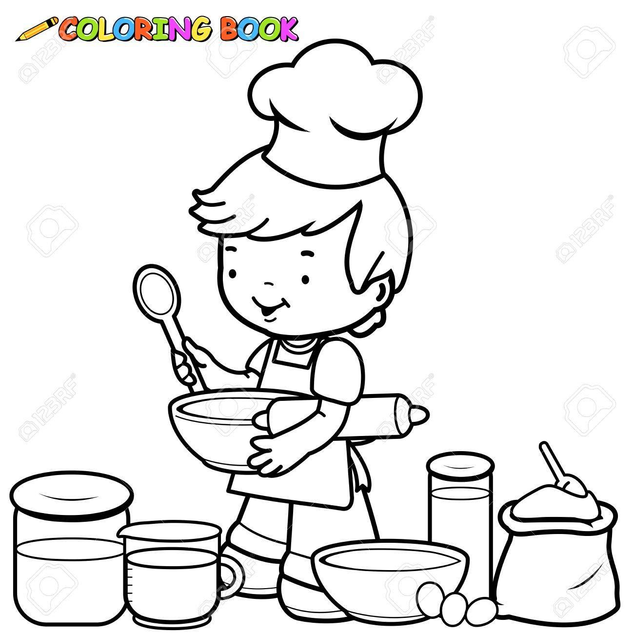 El Niño Pequeño Se Prepara Para Cocinar Libro De Colorear