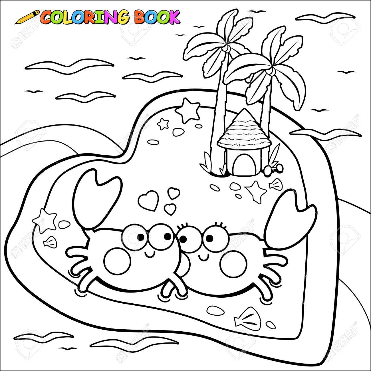 Crabs Walking On The Beach Coloring Book Page Royalty Free Cliparts ...