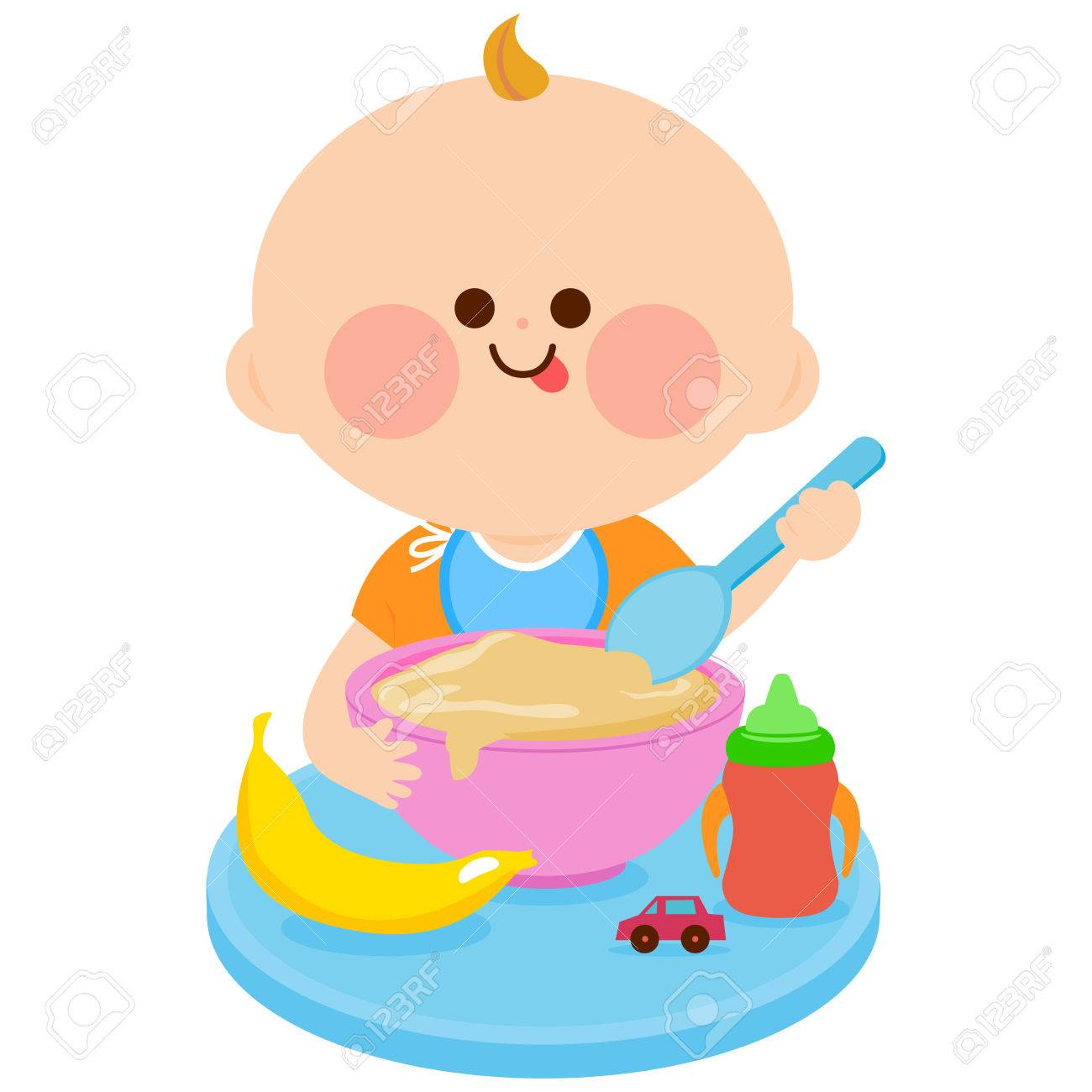 Baby eating cereal - 62129067