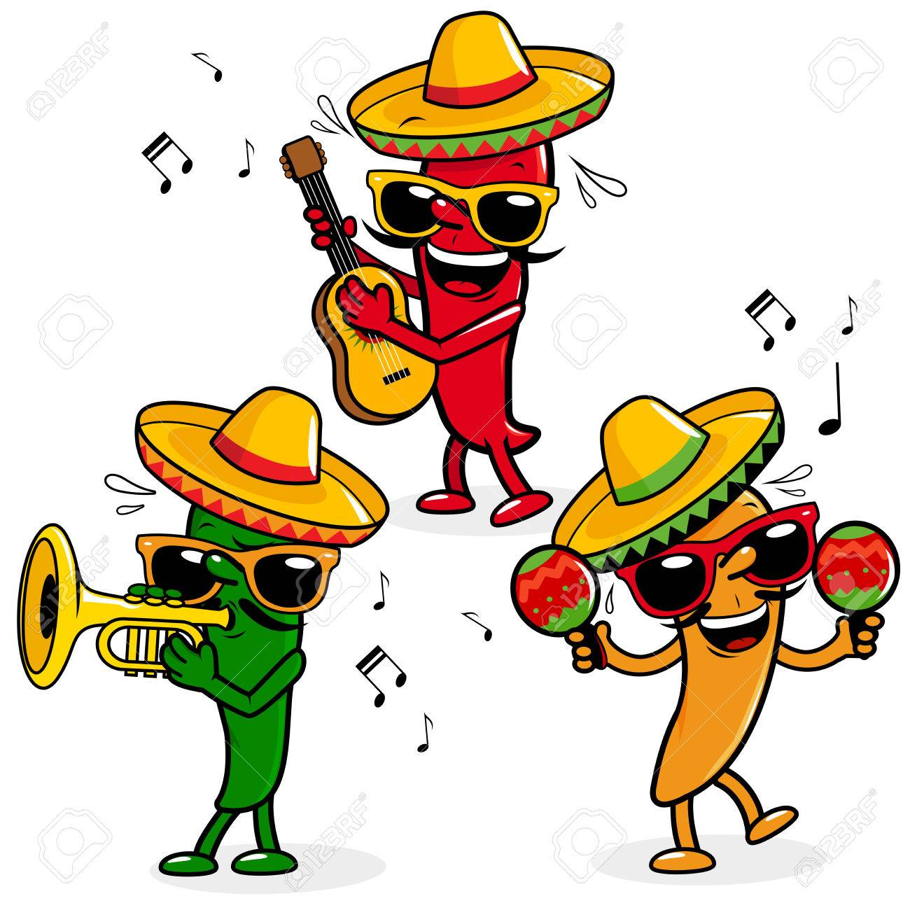 Cartoon hot mariachi peppers - 63583981
