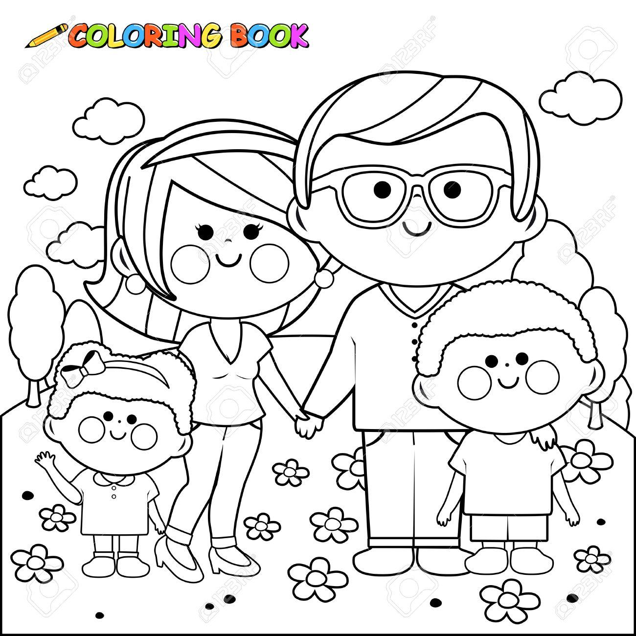 Familia Feliz En La Pagina Del Libro Para Colorear Parque
