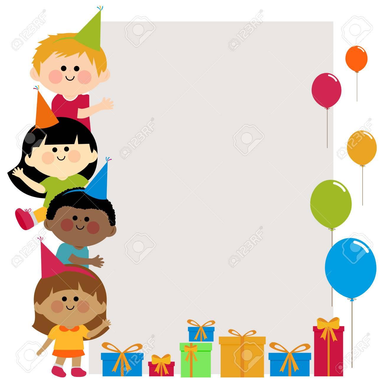 Fiesta De Cumpleaños De Los Niños Con Sombreros De Fiesta La ...