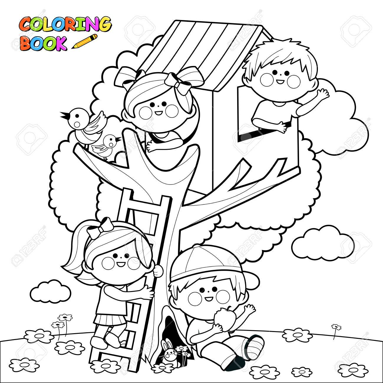 Children playing in a tree house. Black and white coloring book page - 68502313