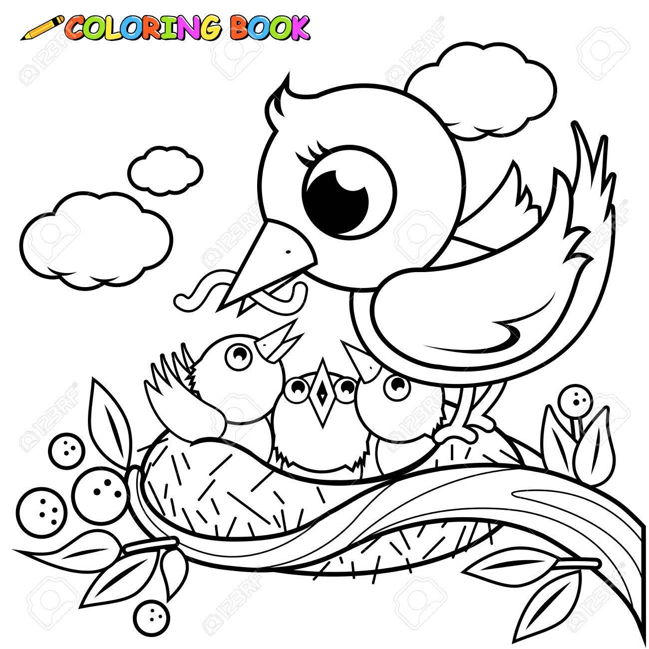 Pájaros Lindos En La Página Del Libro Para Colorear Nido