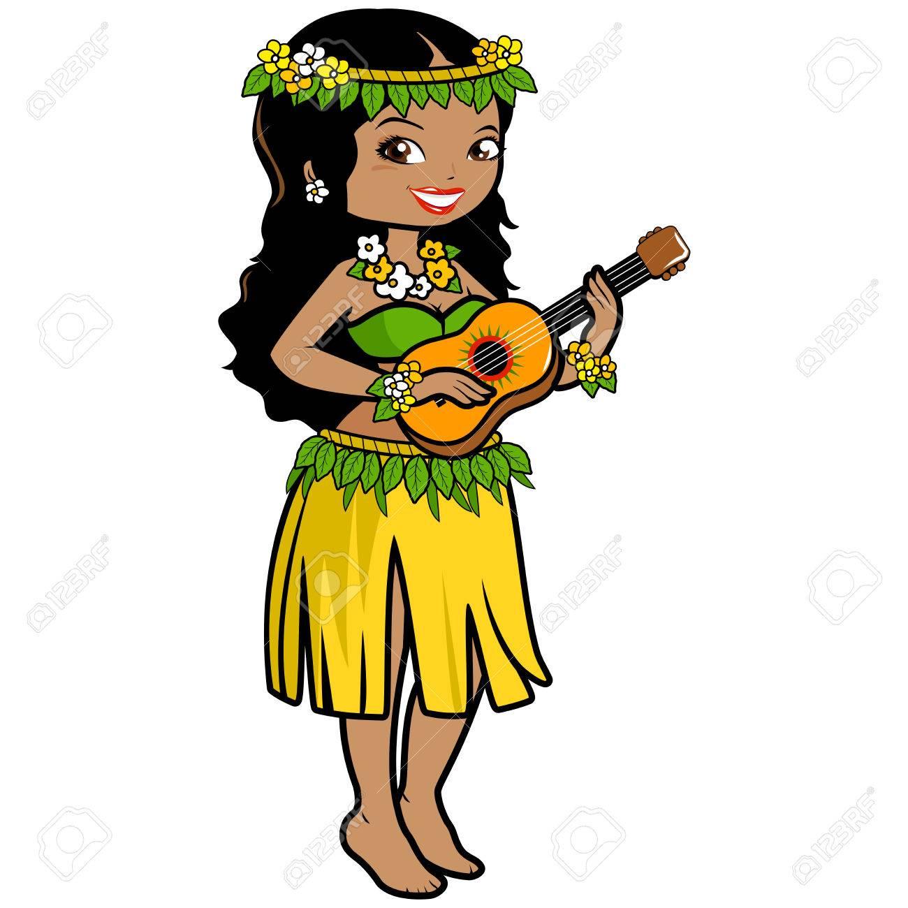 Hawaiian woman playing music with her guitar in a grass skirt hawaiian woman playing music with her guitar in a grass skirt and exotic flowers stock izmirmasajfo Gallery