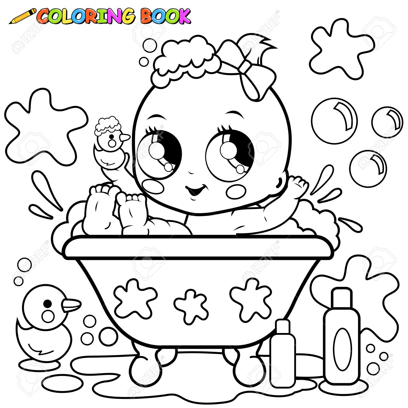 Baby girl taking a bath. Coloring page