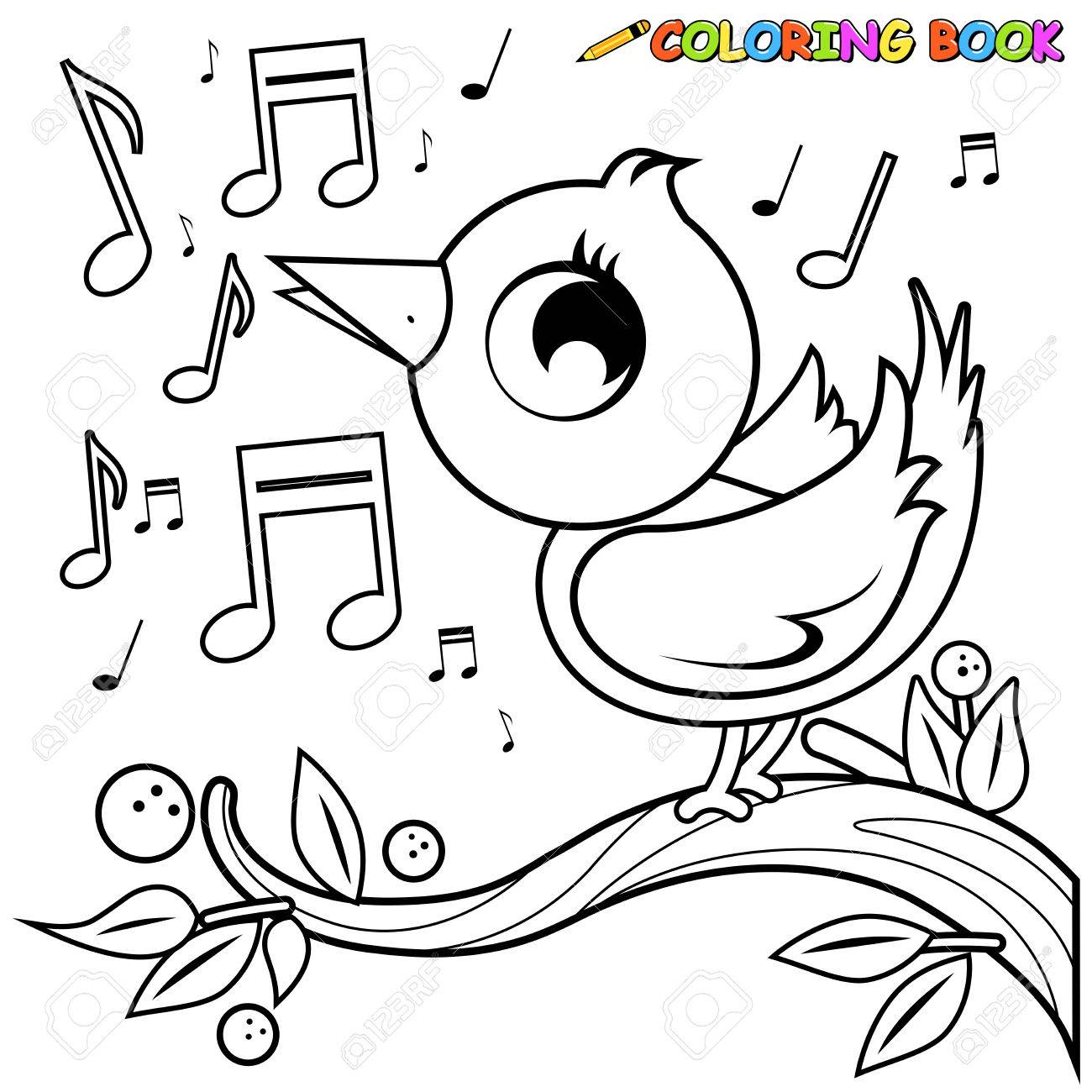 Cute Bird On Branch Singing Coloring Book Page Royalty Free Cliparts Vectors And Stock Illustration Image 66062102