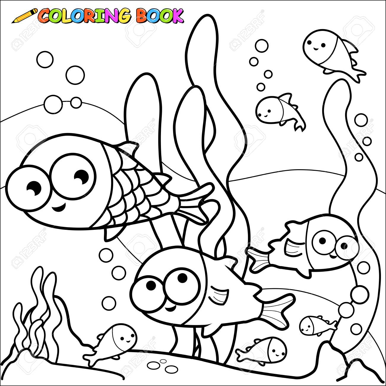 Black And White Outline Image Of Fish Underwater Coloring Book Page Stock Vector