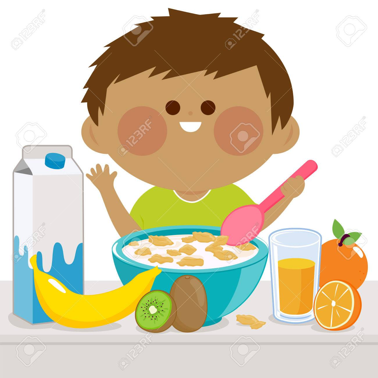 a boy is having his breakfast of cereal, milk, juice, and fruits