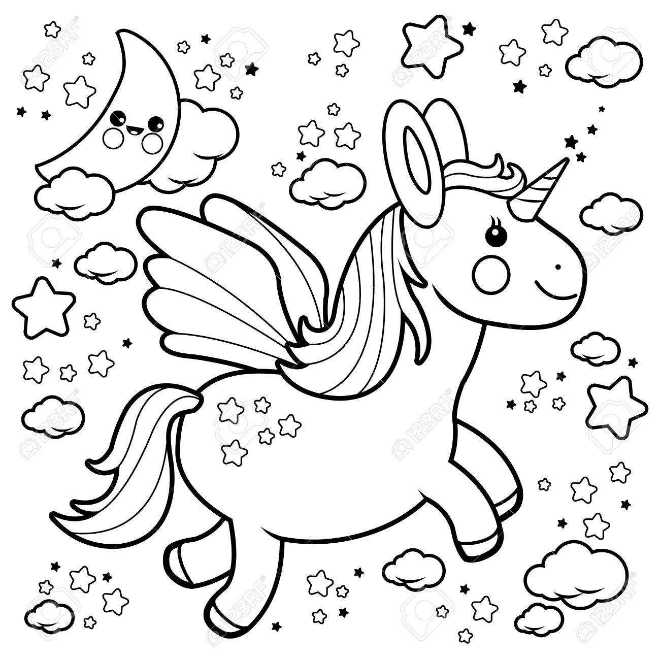 cute unicorn flying in the night sky black and white coloring
