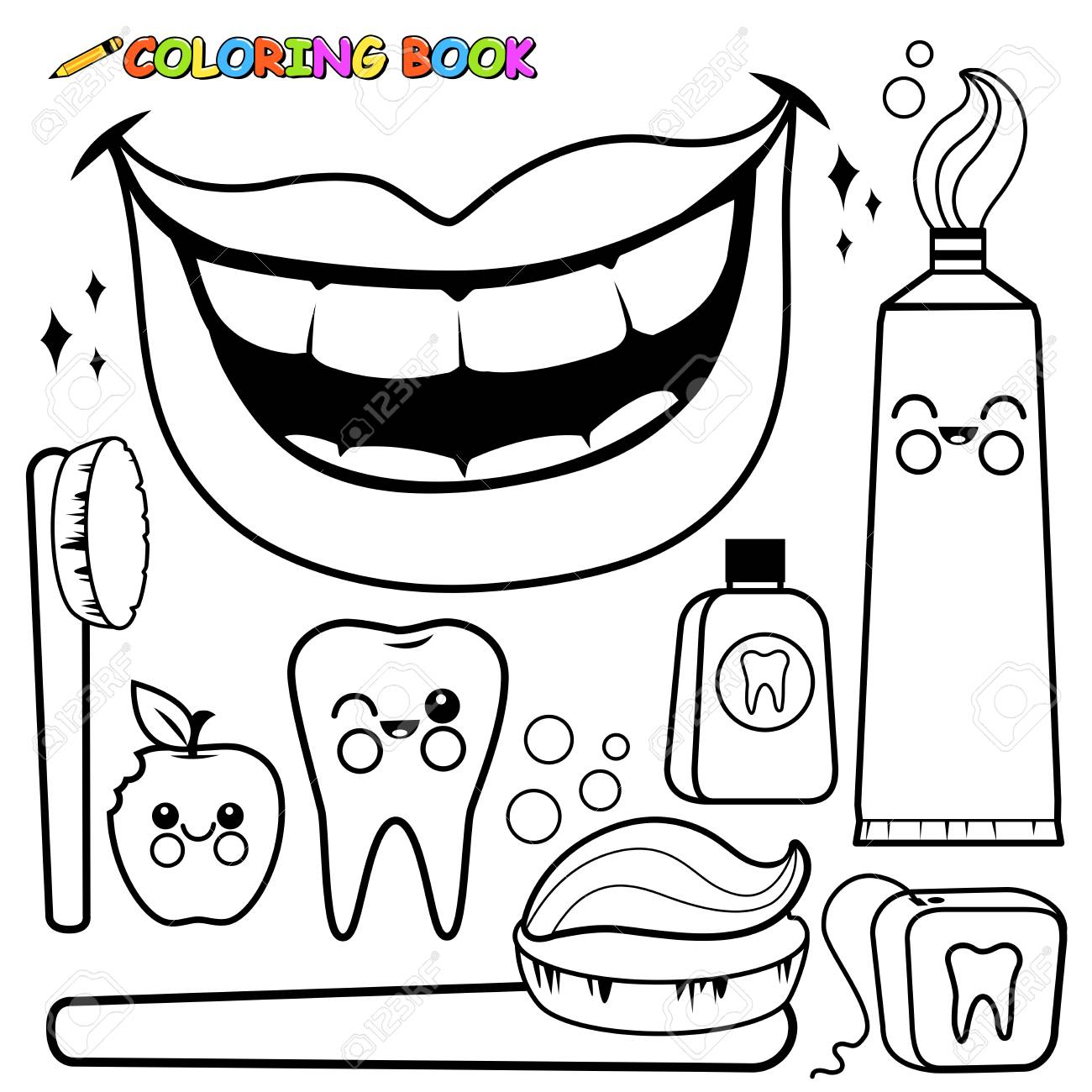 Conjunto De Vectores De Higiene Dental. Página Para Colorear En ...