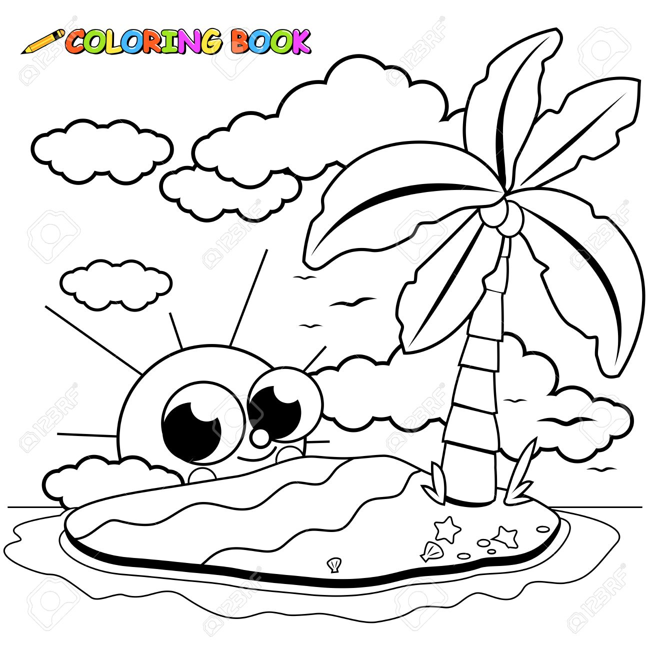Island With A Coconut Palm Tree Sun And Sea Shells Coloring Book Page