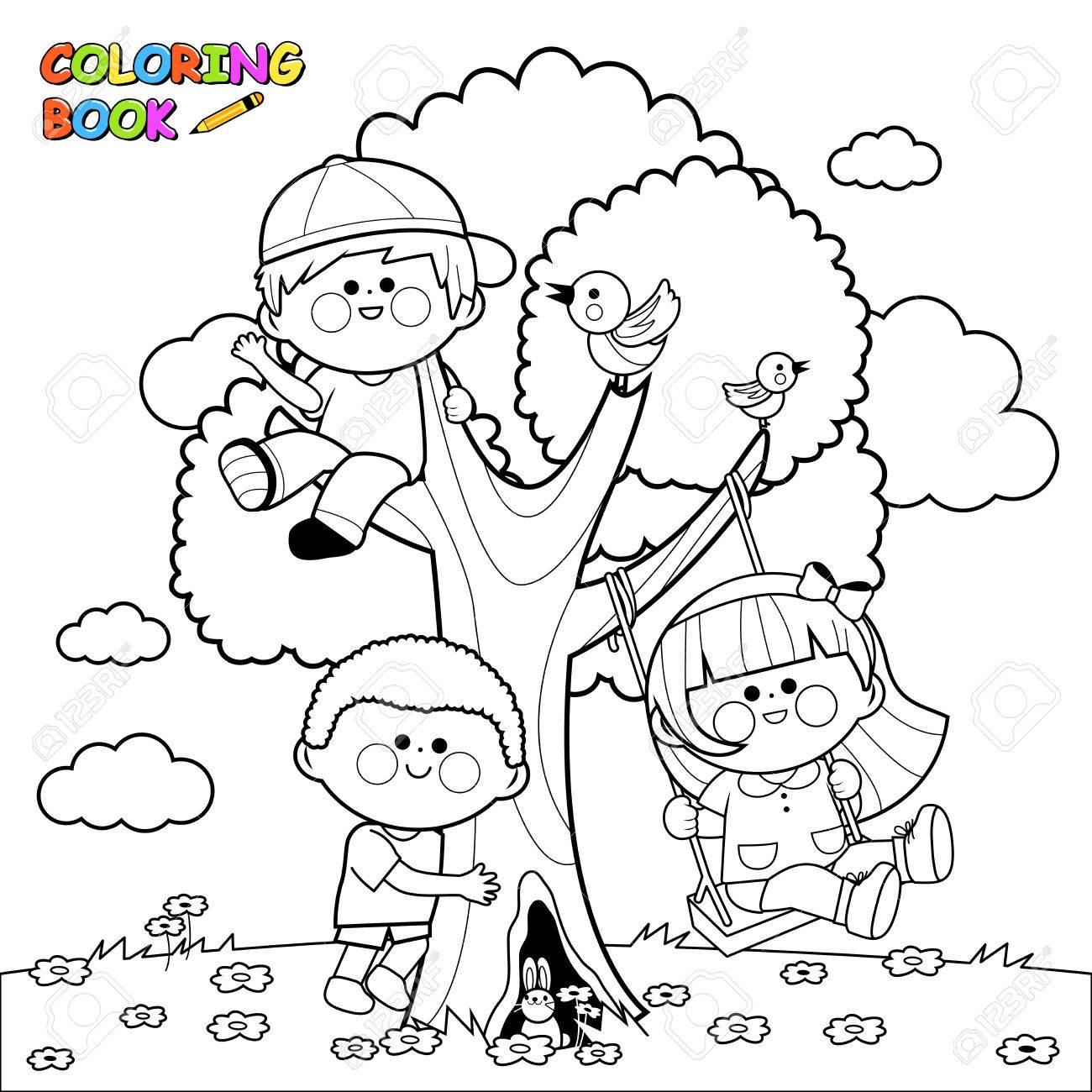 Ilustraciones Vectoriales De Niños Jugando Y Escalando En Un árbol Página Del Libro Para Colorear