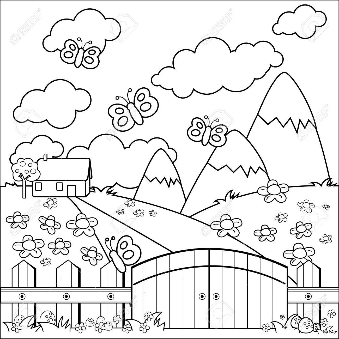 Petite Maison De Campagne Prairie Et Clôture En Bois La Page En