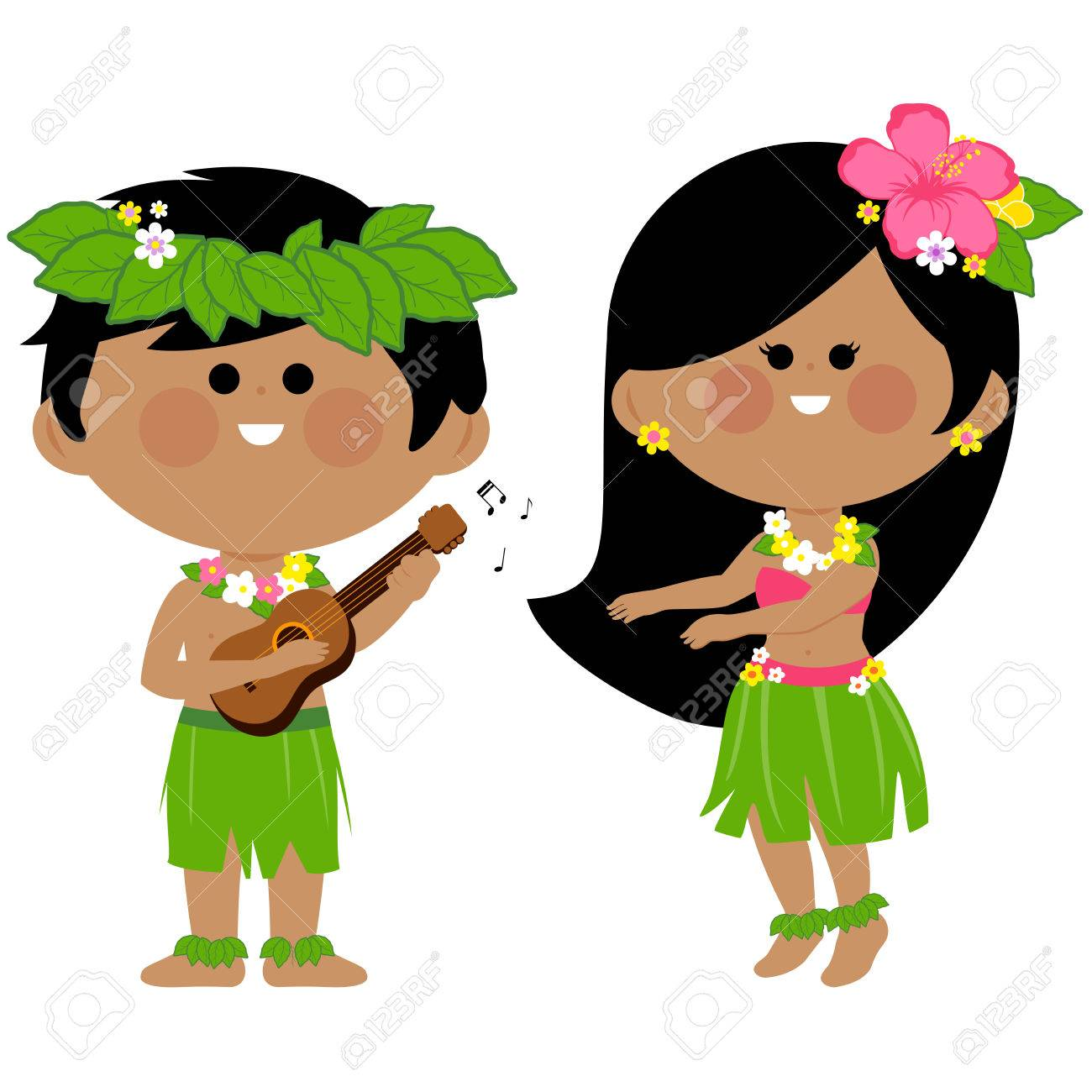 hawaiian children playing music and hula dancing royalty free rh 123rf com Luau Clip Art hula dancer clipart free