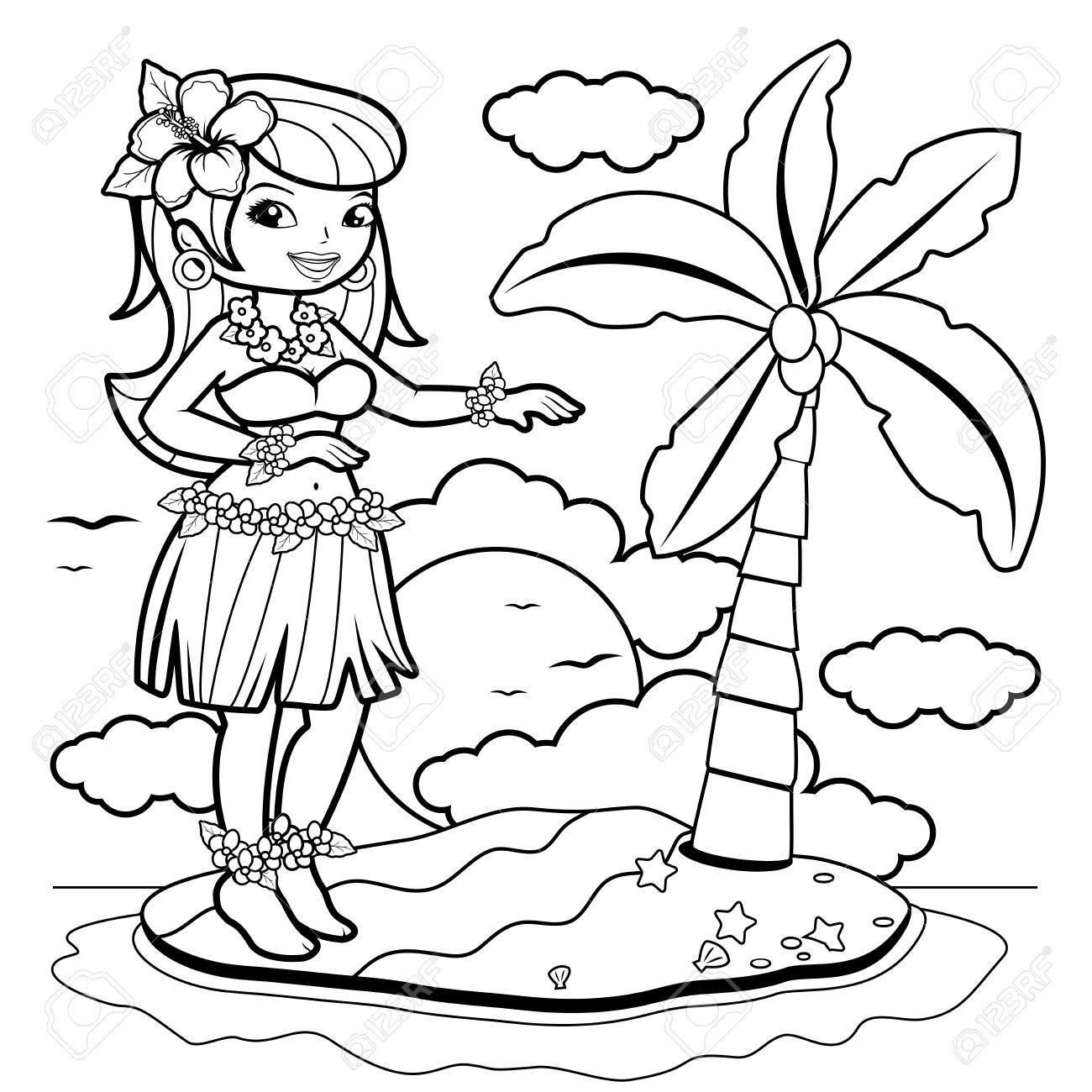 Coloriage De Danseuse De Hula.Femme Hawaienne Danseuse Hula Sur Une Ile Page De Coloriage Clip