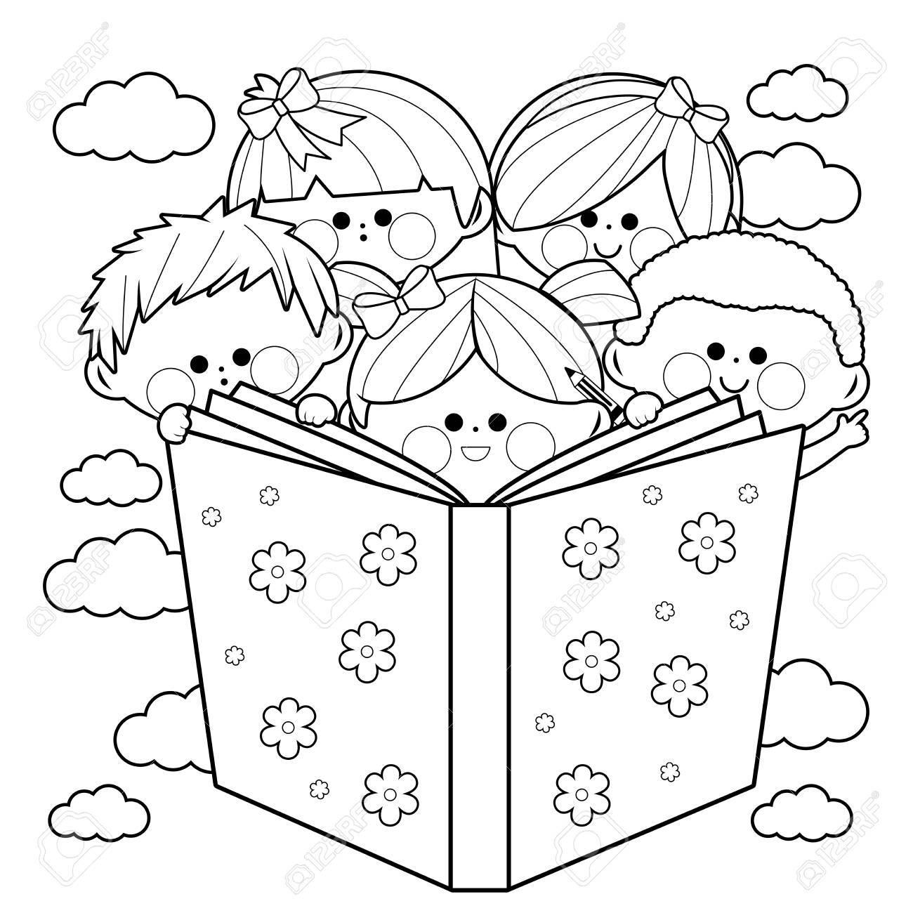 Grupo De Niños Leyendo Un Libro Página En Blanco Y Negro Del Libro Para Colorear