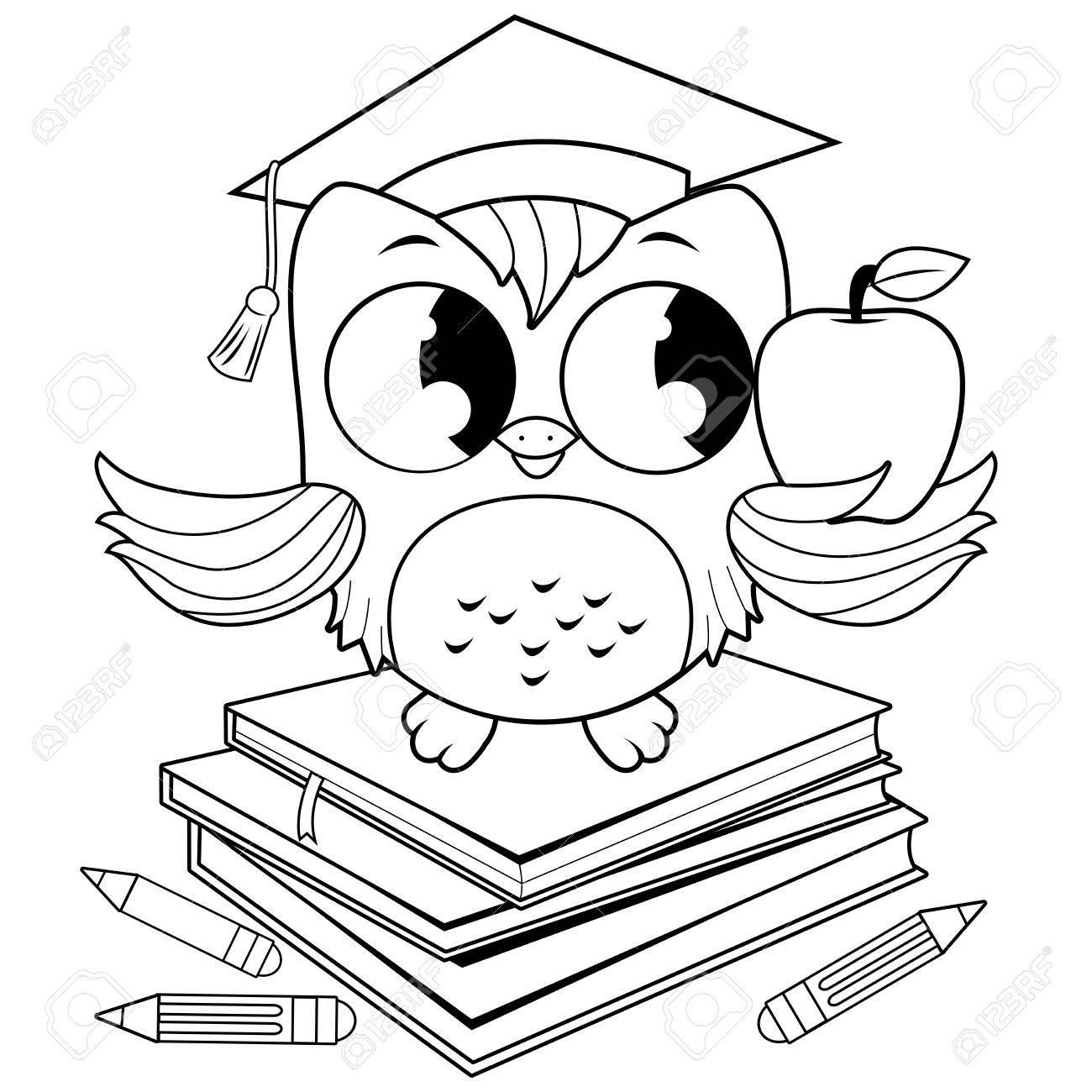 Búho Con Sombrero De Graduación Y Libros. Página De Libro Para