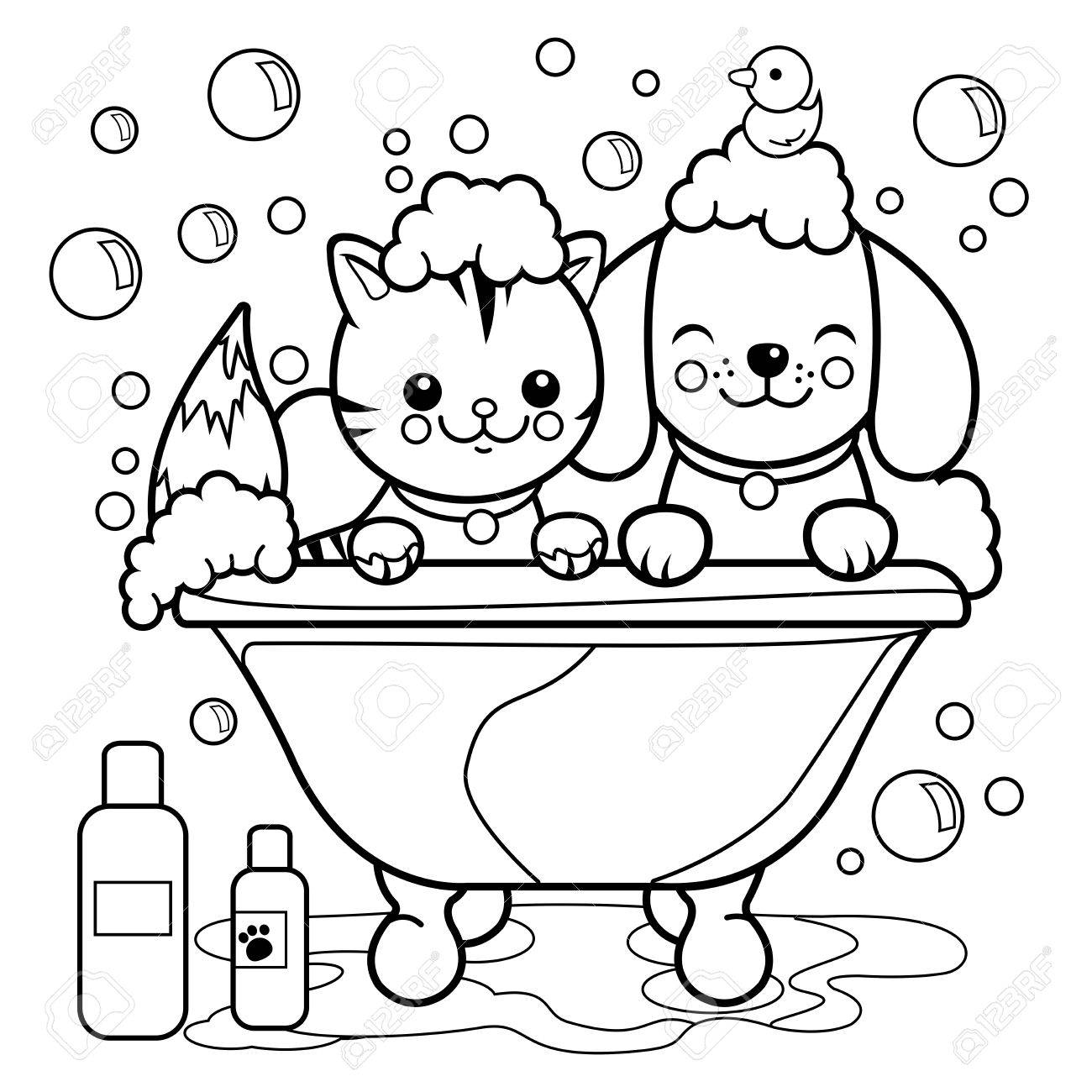 Dog And Cat Taking A Bath. Coloring Book Page. Royalty Free Cliparts ...