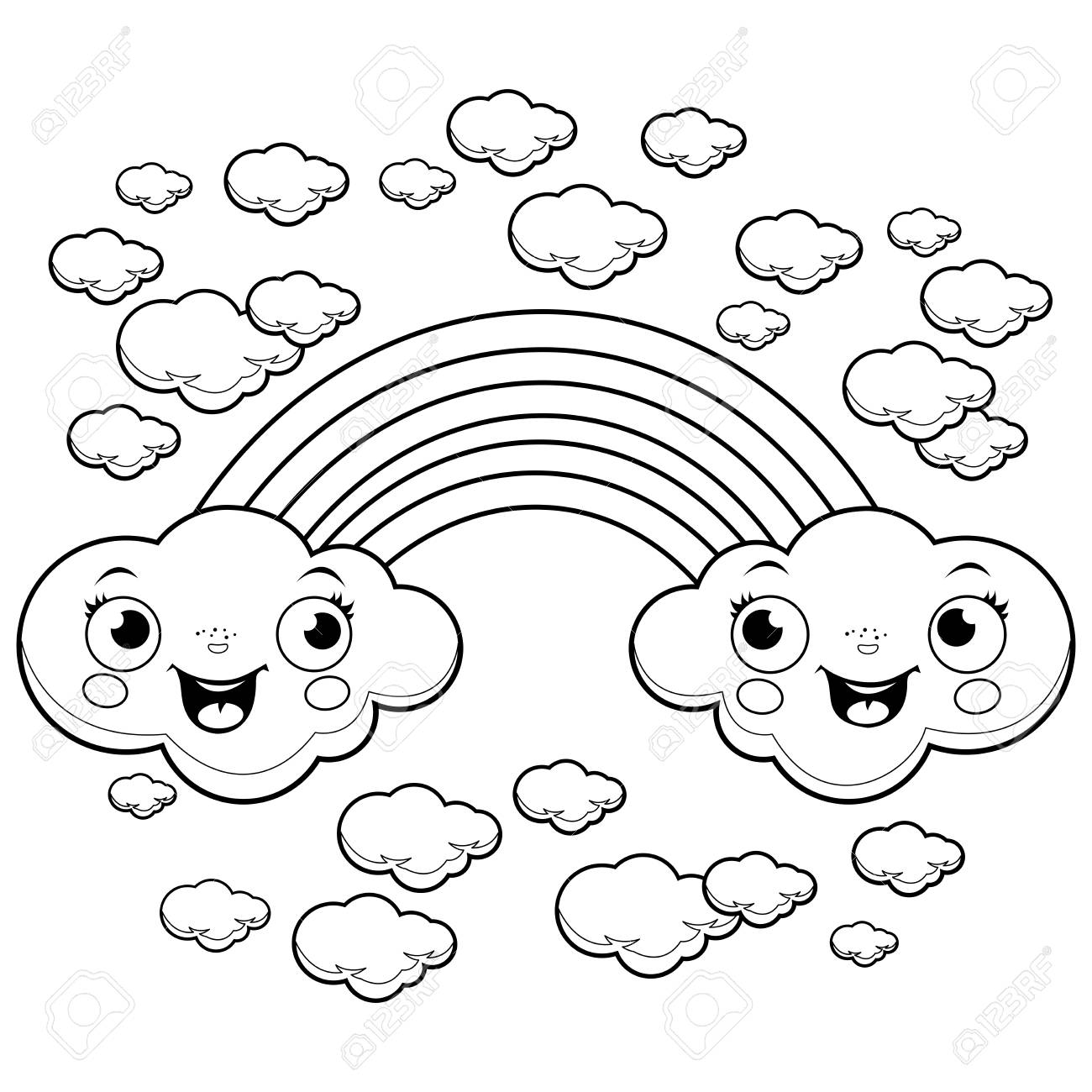 A Rainbow And Clouds In The Sky Black And White Coloring Page