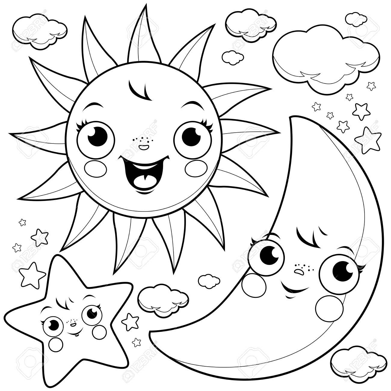 Lindo Sol Luna Estrellas Y Nubes Ilustración En Blanco Y Negro Para Colorear