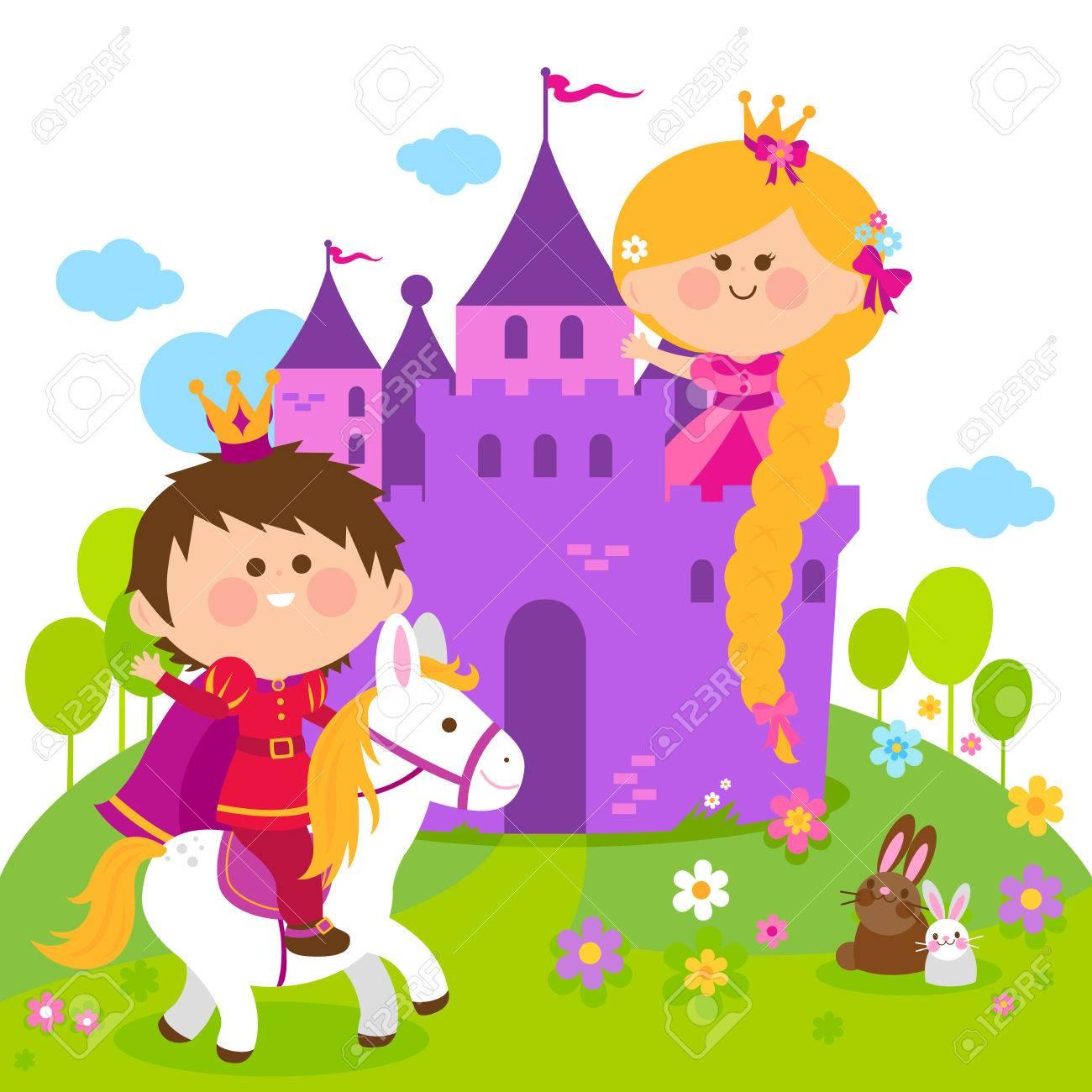 ラプンツェル城と馬に乗って王子おとぎ話の王女のイラスト素材ベクタ