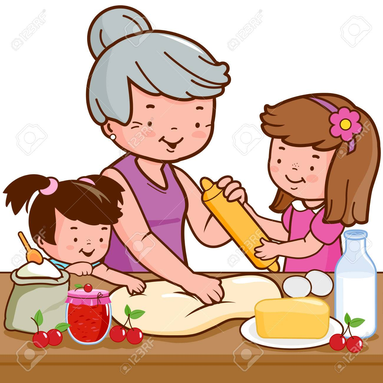 Grandmother and children cooking in the kitchen illustration. - 82182049