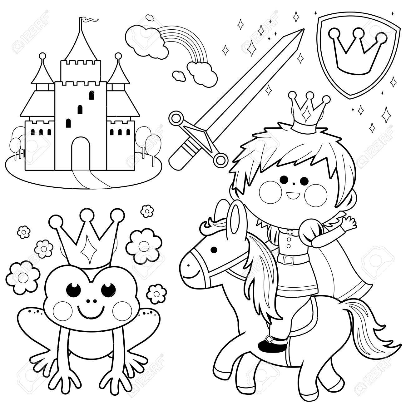 El Príncipe Montado En Un Cuento De Hadas De Caballo. Ilustración De ...