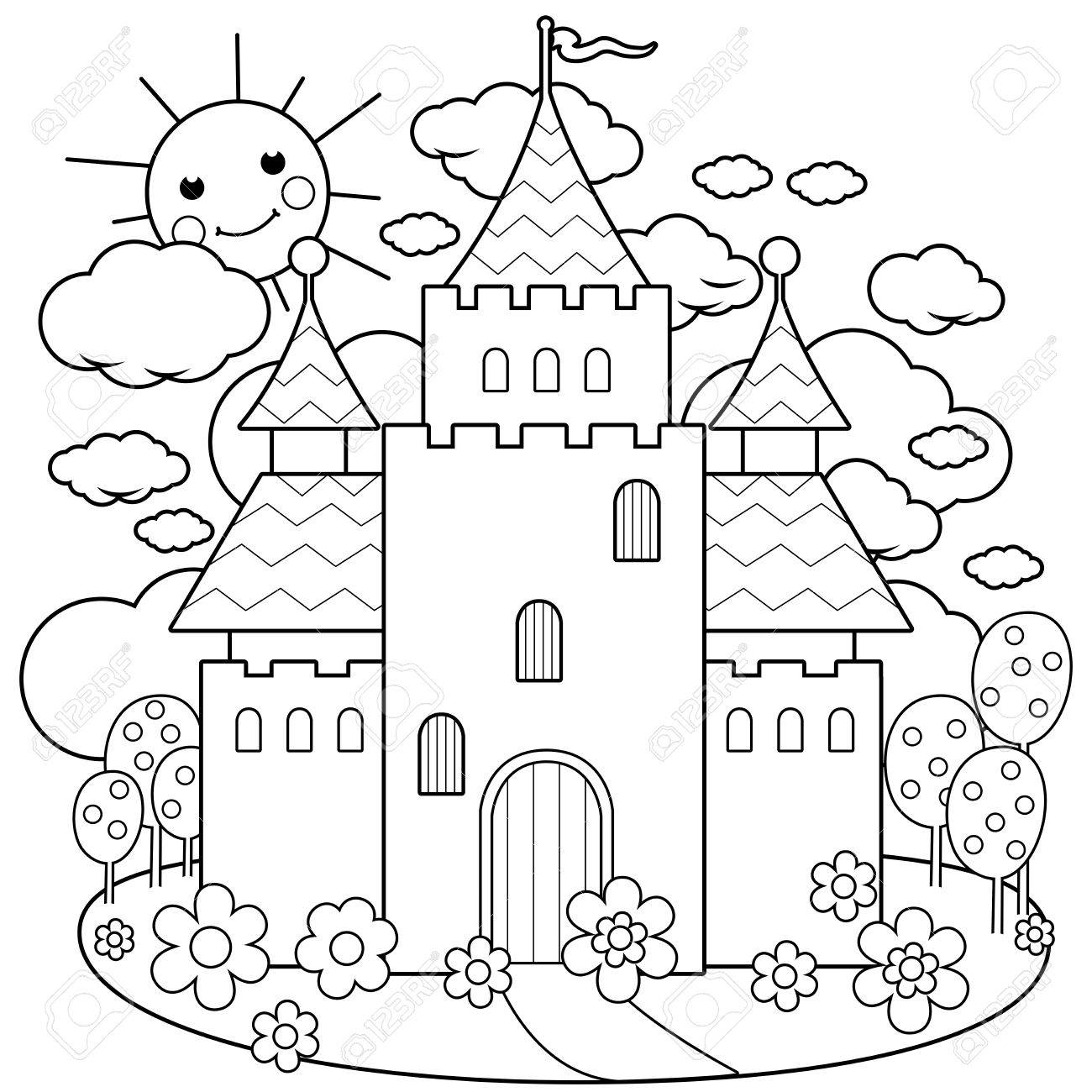 Fairy Tale Castle And Flowers. Black And White Coloring Page ...