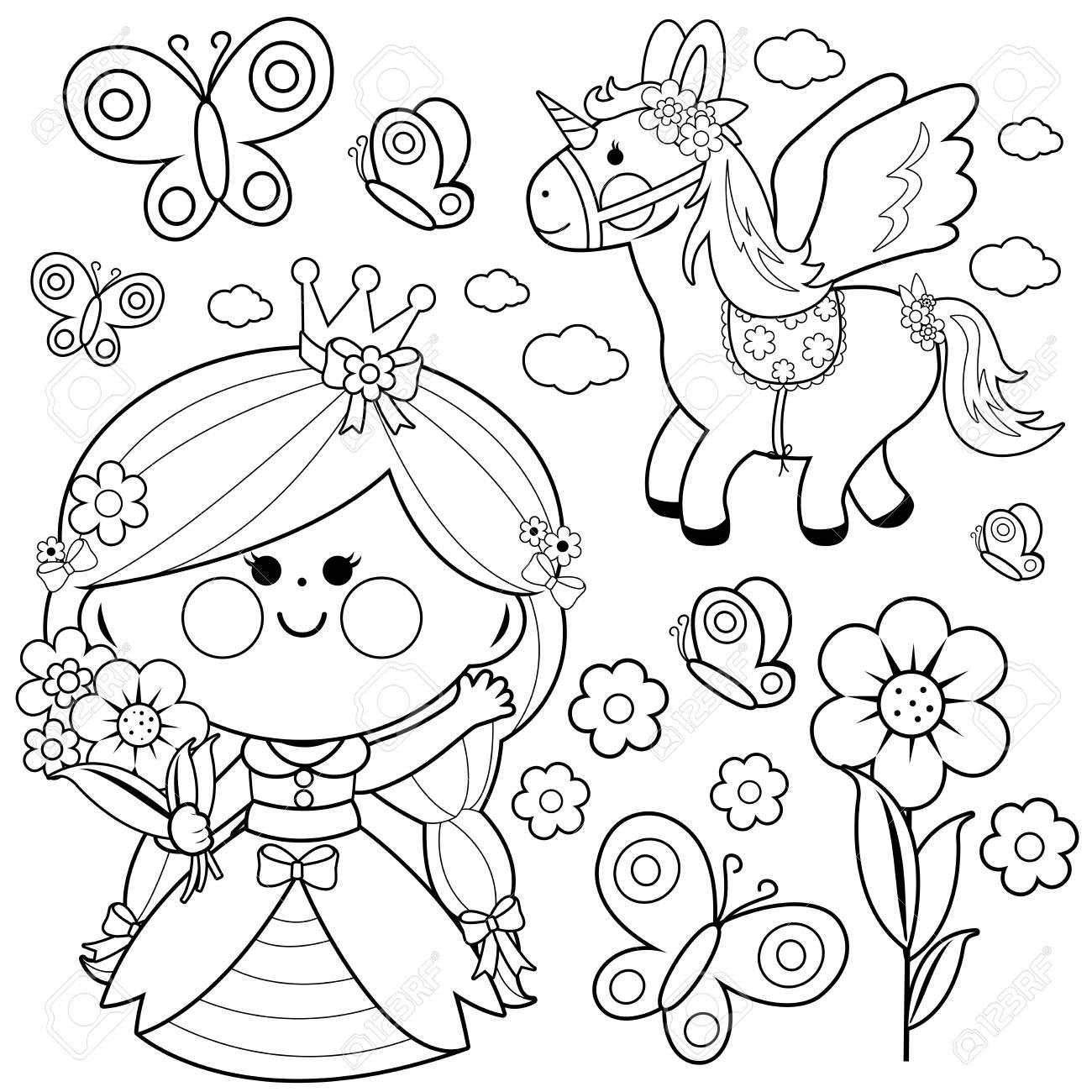Juego De Cuento De Hadas De Princesa Ilustracion De Pagina Para