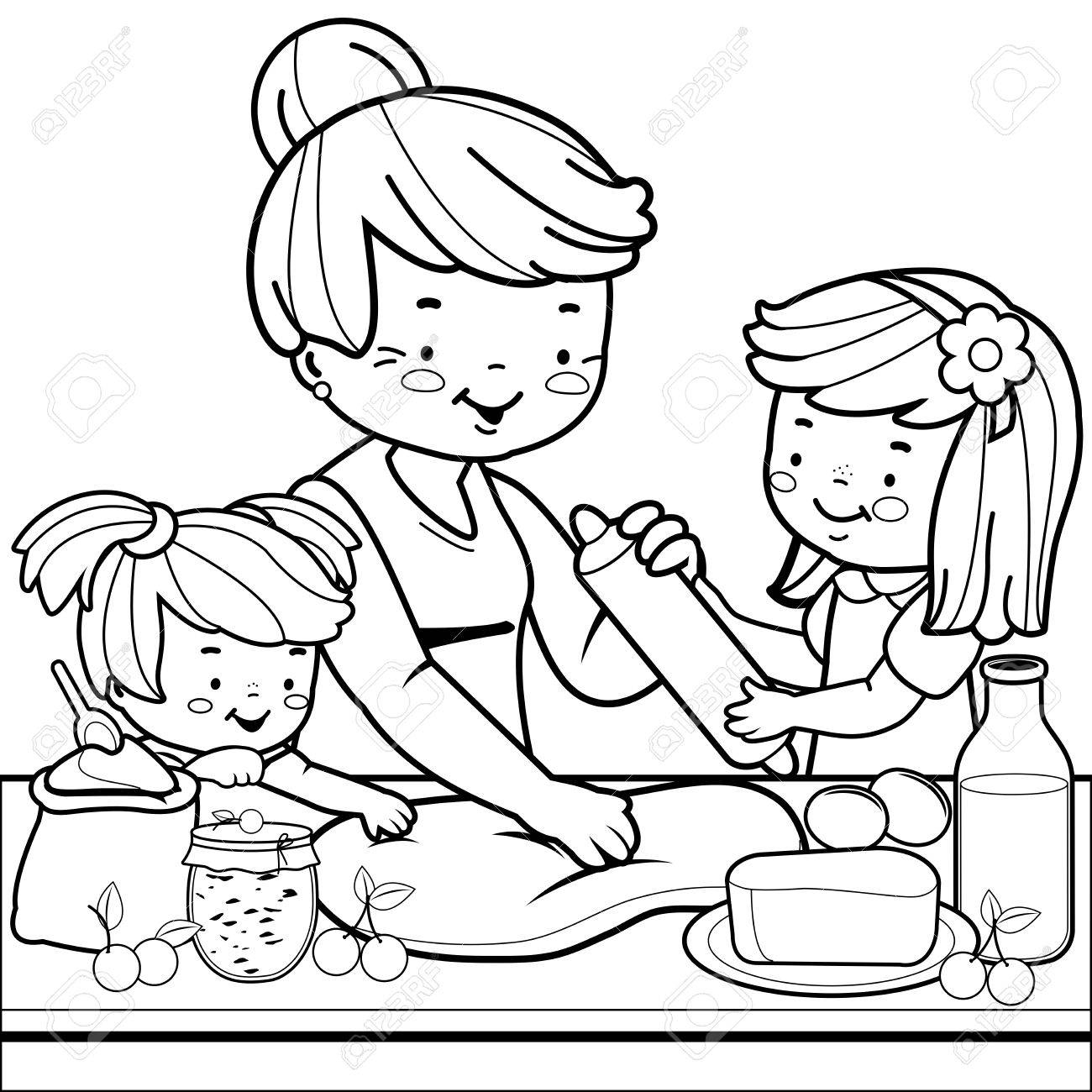 Grandmother And Children Cooking In The Kitchen. Coloring Book ...