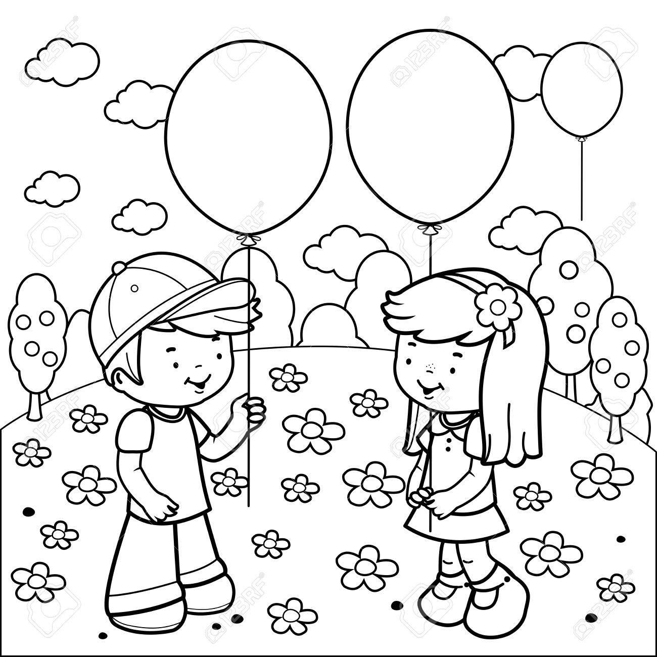 children at the park playing with balloons. black and white coloring