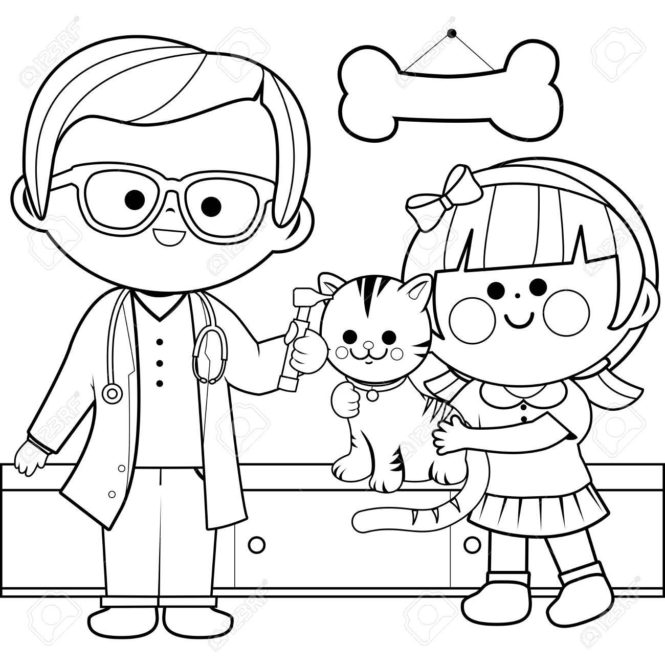 Coloriage Fille Et Chat.Medecin Veterinaire Examinant Le Chat D Une Petite Fille Avec Un Otoscope Page De Livre A Colorier