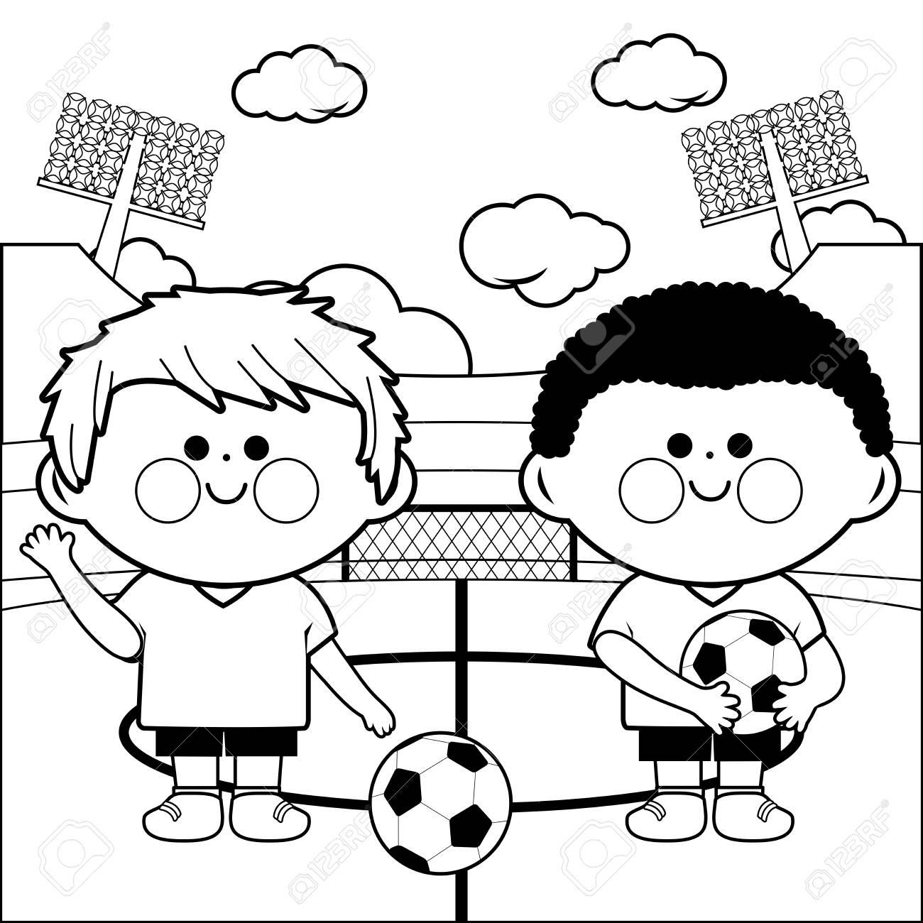 Dos Niños Pequeños Jugadores De Fútbol En Un Estadio Ilustración De Página Para Colorear En Blanco Y Negro