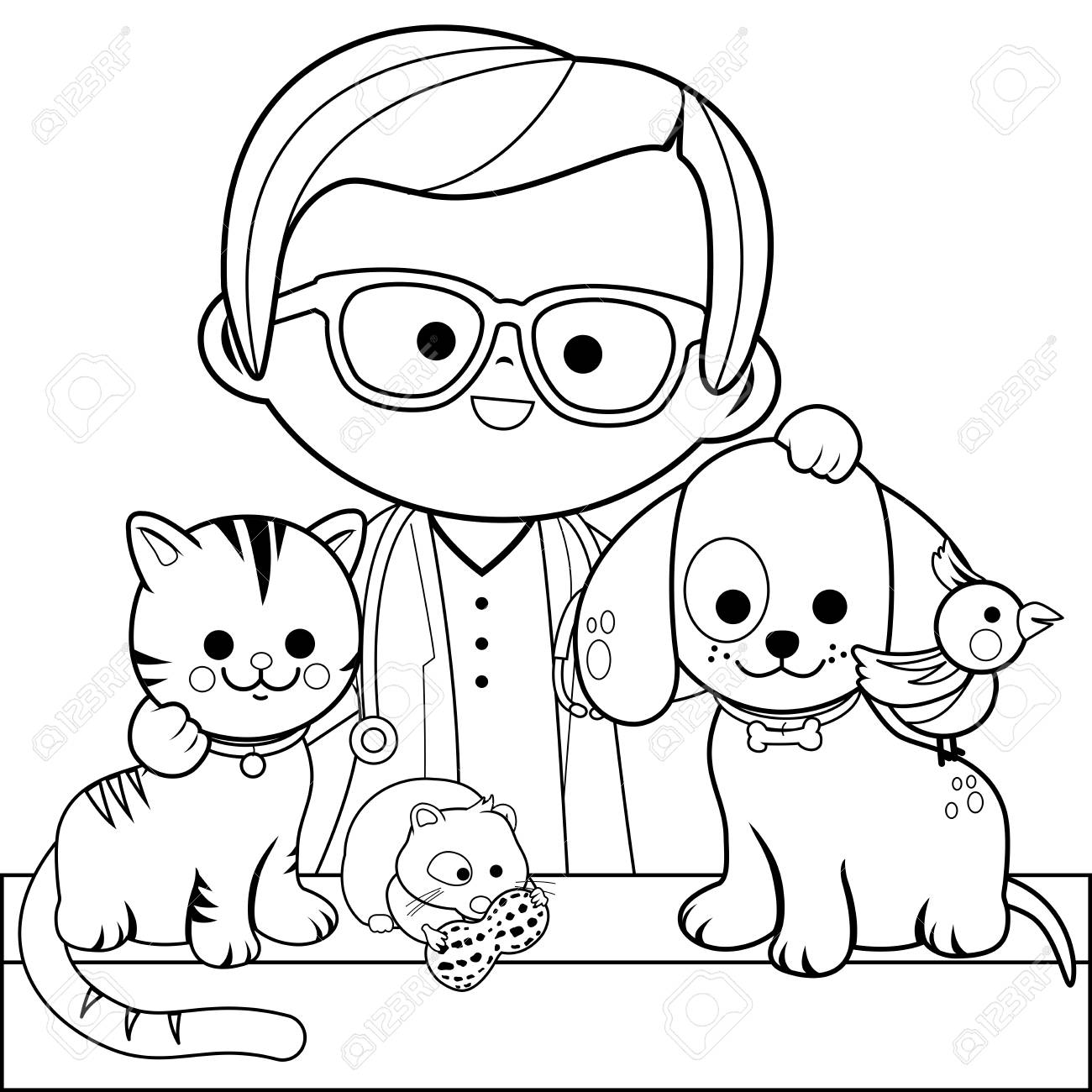 Veterinarian and pets. Coloring book page - 88773986