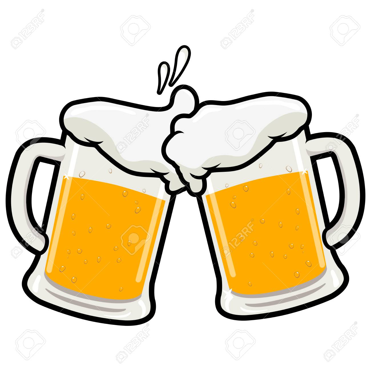 Two full beer mugs on a beer toasting concept vector illustration - 89712494