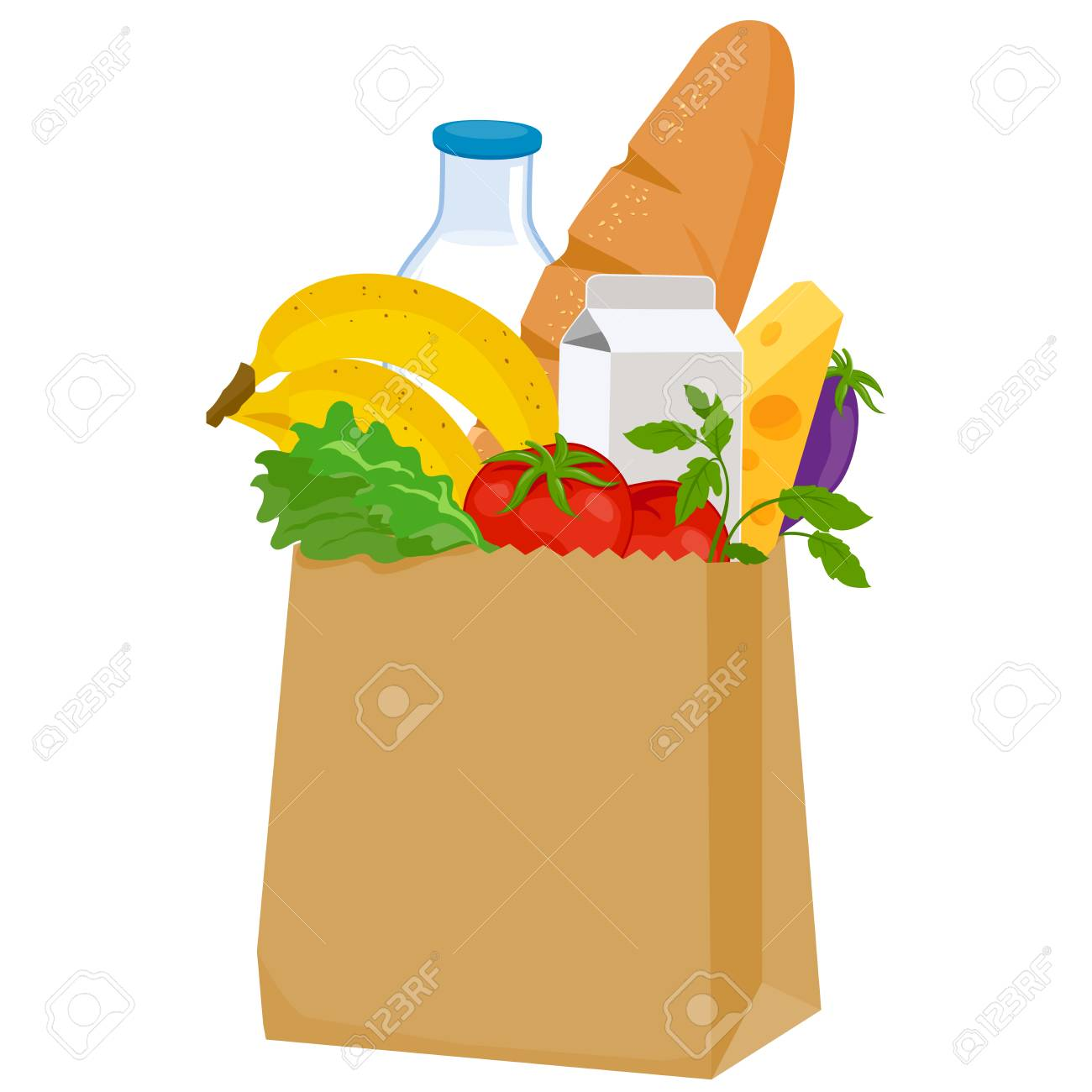 Paper bag with groceries on white background, vector illustration. - 89926421
