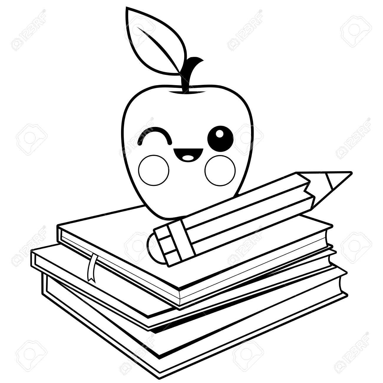 Apple, Books And Pencil. Black And White Coloring Book Page. Royalty ...